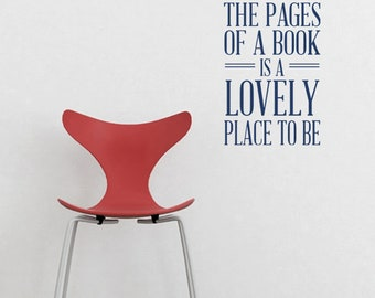 Between Pages Book LOVELY VINYL DECAL  14x22 inches