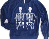 Womens SKELETONS Lightweight Tri-Blend Pullover - american apparel S M L (Color Options)
