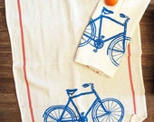 Set of 2 Towels - Vintage BIKE Turquoise & Red Stripe Renewable Natural Cotton Kitchen or Bar