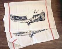 Towel Set - Manatee in a Canoe - Bar Towel Set - Natural Cotton Red Stripe Herringbone