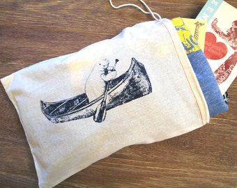 "GIFT BAG / 8x11"" MANATEE (in a Canoe) - Hand Printed Drawstring Reusable Cotton Bag Zen Threads"