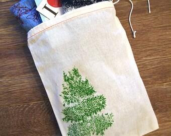 "GIFT BAG 8x11"" Magnolia Tree - Hand Printed Drawstring Cotton Bag"