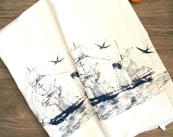 Set of 2 Towels - Vintage STEAMSHIP - Multi-Purpose Flour Sack Kitchen Bar Towels - Renewable Natural Cotton