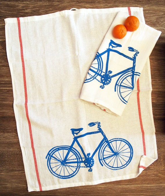 Turquoise Kitchen Towels: Set Of 2 Towels Vintage BIKE Turquoise & Red Stripe