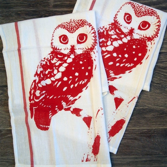 Red Kitchen Hand Towels: Towel Set Of 2 Red OWL Kitchen Bar Dish Towels By ZenThreads