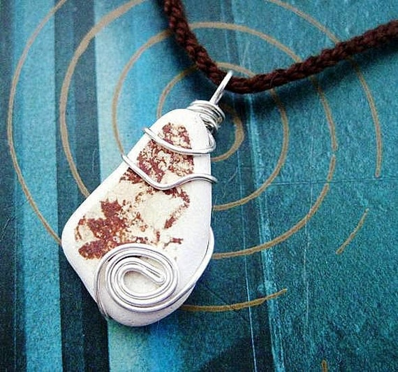 Brown Sea Pottery Pendant. Irish Necklace. Optional Crochet Chain. Storm in a Teacup