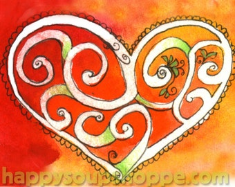 Swirly Heart Sacred Heart Red Blank Greeting Card Watercolor