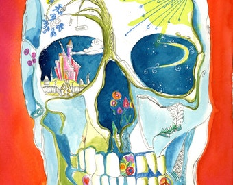 Skeleton Skellie of Love Peace Greeting card colorful castle