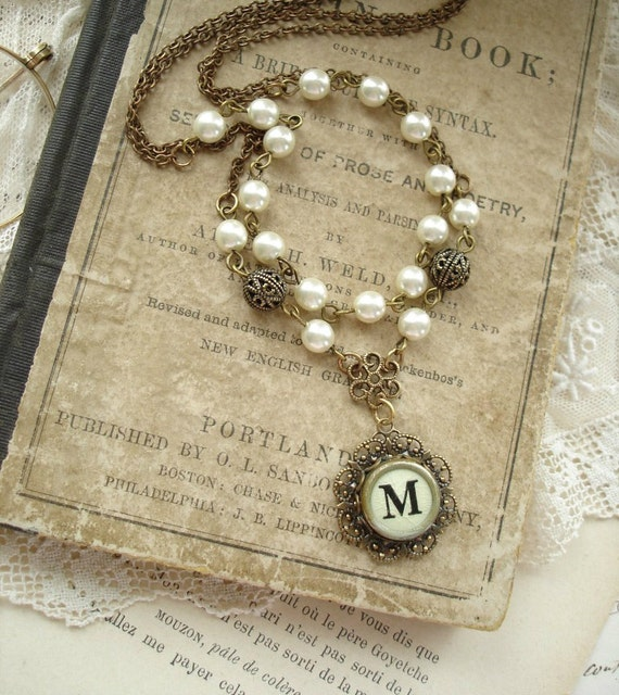 Typewriter Key Jewelry - Cream Letter M Vintage Typewriter Key Double Chain Necklace, Antiqued Brass Filigree, Ivory Pearls. Rustic Jewelry.