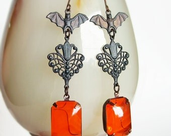 Large Black Bat Earrings Orange Glass Earrings Goth Noir Jewelry Vintage Glass Rhinestones Black Metal Bat Jewelry Large Statement