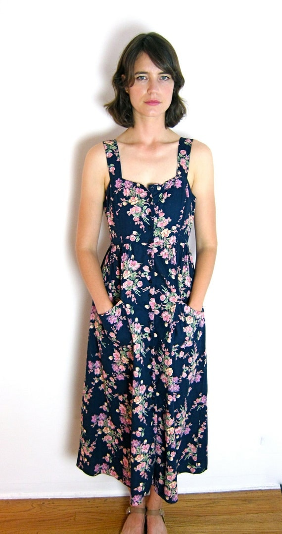 Perfect Long Blue Floral Sun Dress