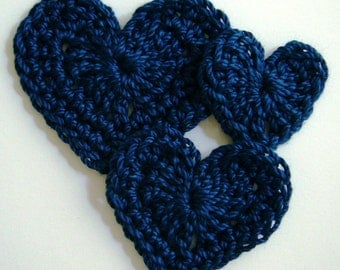 Trio of Crocheted Hearts - Navy Blue - Cotton Hearts - Crocheted Heart Appliques - Crocheted Heart Embellishments