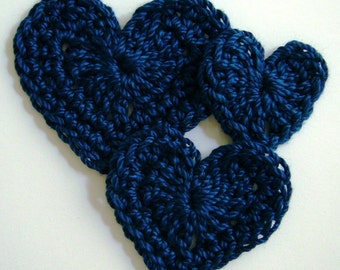 Trio of Crocheted Hearts - Navy Blue - Cotton - Heart Appliques - Crocheted Appliques