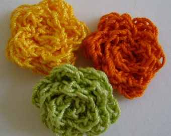 Crocheted Roses - Goldenrod, Pumpkin and Lime Green - Cotton Flowers - Crocheted Flower Embellishments - Crocheted Flower Appliques