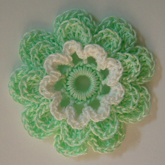 Crocheted Flower - Mint Green and White - Cotton - Applique - Embellishment