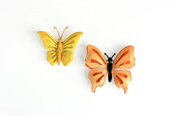 Pair of Vintage Enamel Butterfly Pins