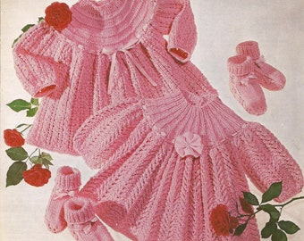 """PDF Knitting Pattern Baby Knitted Angel Tops/Dress to fit sizes 16-20"""" DK (PH210)"""