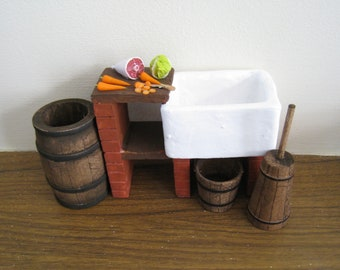 Dollhouse sink, Tudor stone sink and accessories,  in twelfth scale, a dollhouse miniature