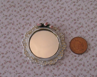 Mirror, shabby chic white, handpainted and decorated with  pink roses ,  edged with gold trims, twelfth scale miniature