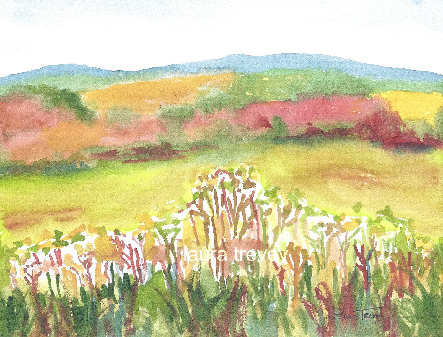 colorful landscape watercolor painting