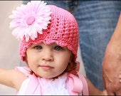 Crochet Beanie Hat in medium pink for baby, toddler or child, Flower Sold Separately