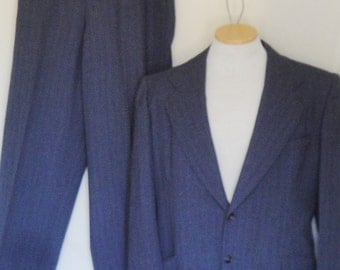 SALE Vintage Bespoke Suit 1951 Man's Navy Blue Pin Stripe Flecked C42