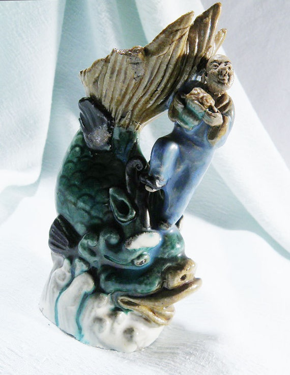 Chinese Figurine on GIANT FISH Holds Incense