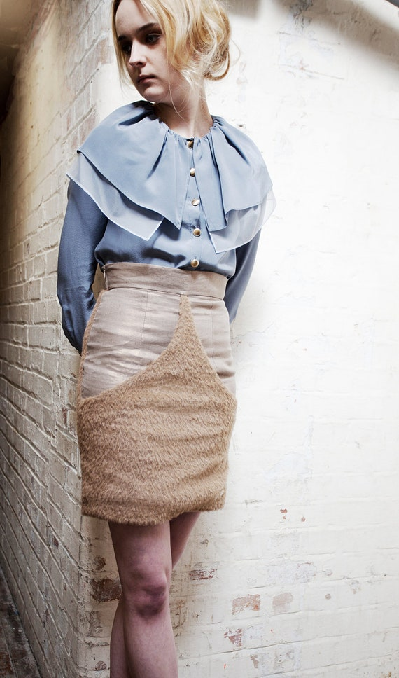 RESERVED Lucie Fawn Mohair and Gold Linen Pencil Skirt