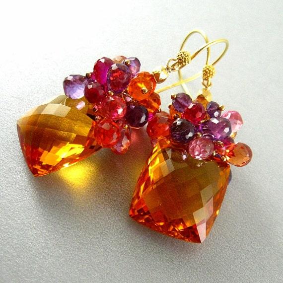 Orange Citrine Gemstone Cluster Earrings