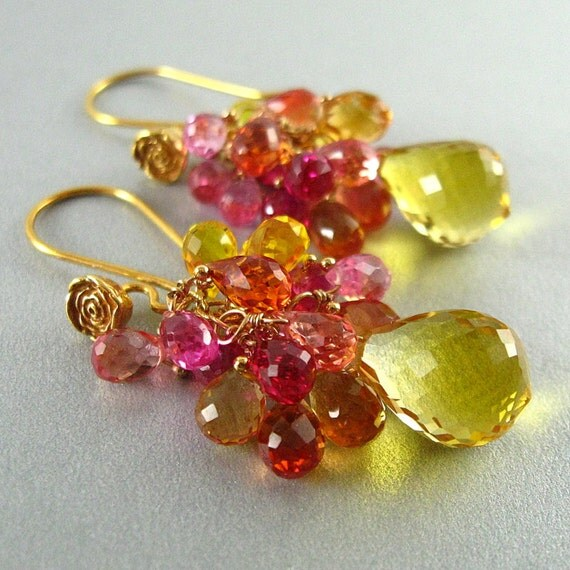 Yellow Citrine Cluster Earrings - Little Drops Of Sunshine