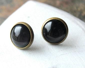 Black Earrings 12mm Black STUDS or black Clip On Earrings small black clip earring little black studs tiny black earrings E452