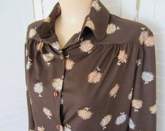 Blouse, Shirt Brown Long Sleeve Print by Alex Colman - Size M-L