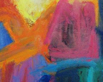 Blind Curve ABSTRACT ORIGINAL Painting 20 x 16 hot colors, pink, aqua, blue, orange