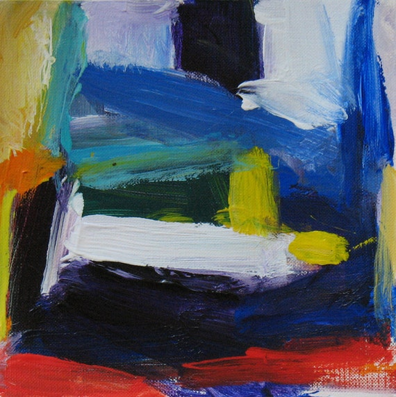 Color Study 1 Original Abstract Painting 6 x 6 luscious color, red, cobalt blue, orange, white
