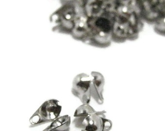 50 Platinum Tone Clam Style Cord Knot Ends. 3.5mm x 6mm