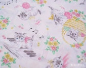 Japanese Fabric - QUILT GATE - Dear Little World Little Cats Merry on Off-white - Half Yard (fa130613)