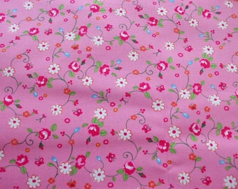 SALE - KOKKA Cute Flower Butterfly on Pink - Half Yard (ta0805)
