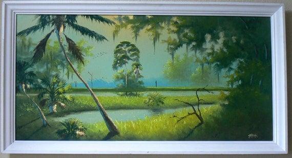 """Original Florida Highwaymen  Vintage Oil Painting in Original Frame 24x48""""  Reserved for Jerry"""