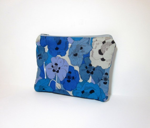 Small Zipper Pouch Small Wallet Small Cosmetic Bag Liberty of London Blue Flowers