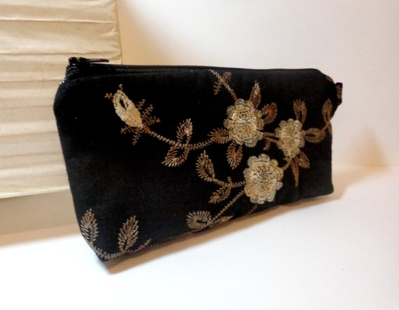 Medium Zipper Pouch Cosmetic Pouch Pencil Case Embroidered Flowers on Black Linen