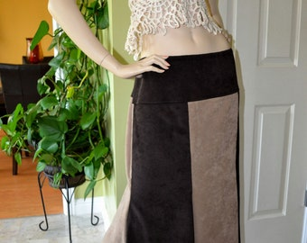 Brown Gypsy Hippie Patchwork Skirt