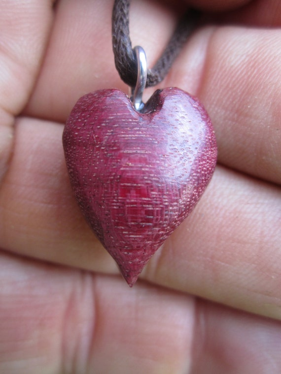 Sweet little Purple Heart necklace- Handcarved necklace- Woodenheart in Reclaimed Purpleheart Wood Jewelry