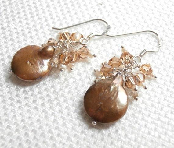 Coin Pearl Earrings, Bronze Crystal Cluster Pearl Earrings, Wire Wrap Sterling Silver, Beige Neutral Earring Topaz Swarovski Crystal Cluster