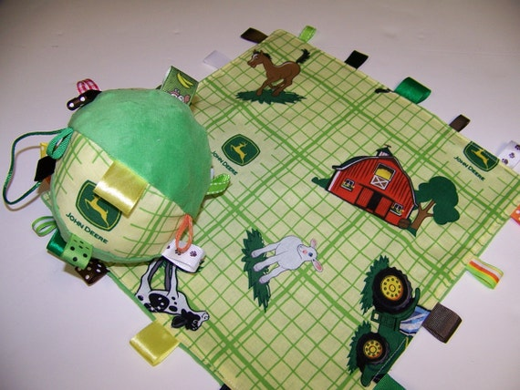"""John Deere Baby Taggie Ball and Minky Blanket Handmade with Rattle 5"""" Dia. Yellow and Green SALE"""