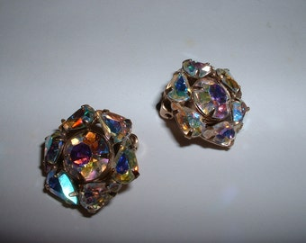 Vintage Signed Weiss Aurora Borealis Rhinestone Clip on Earrings Sale Reduced