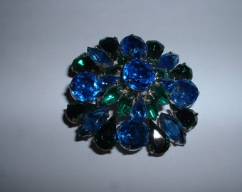 Vintage Cobalt  Blue and Green Rhinestone 2 inch brooch  SALE Reduced