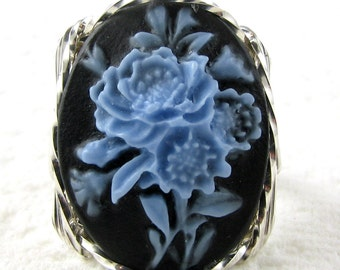 Blue Rose Bouquet Cameo Ring Sterling Silver Jewelry