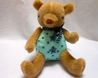 Little Teddy Bear Handmade in Low Pile Fur with Navy Blue Star Buttons, Stuffed Animal, Stuffed Bear, OOAK
