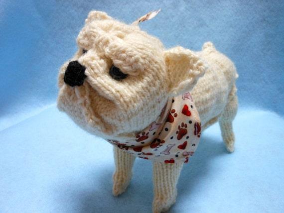 English Bulldog Hand Knitted in Cream Color Wool Yarn, Canine, Stuffed Animal