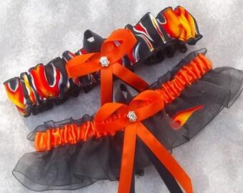 Handmade wedding garters keepsake and toss FLAMES like HARLEY DAVIDSON wedding garter set